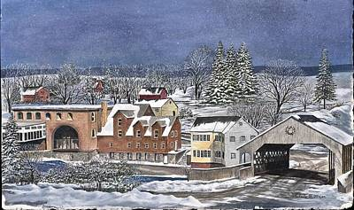 Snow Covered Ground Painting - Quechee Village by Lucille R Major