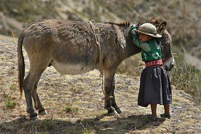 Quechua Girl Hugging His Donkey. Republic Of Bolivia. Art Print