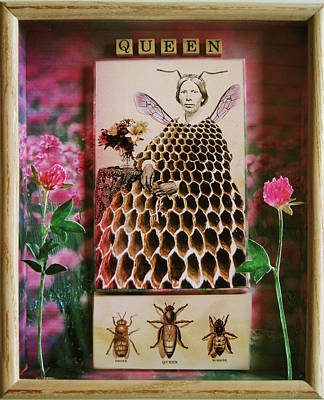 Mixed Media - Queen Bee - Mixed Media Assemblage Collage by Linda Apple