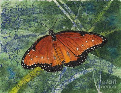 Painting - Queen Butterfly Watercolor Batik by Conni Schaftenaar