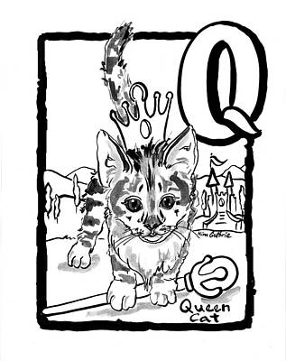 Wall Art - Painting - Queen Cat With Letter Q  by Kim Guthrie