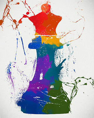Chess Pieces Painting - Queen Chess Piece Paint Splatter by Dan Sproul