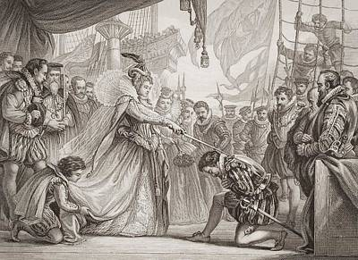 Drake Drawing - Queen Elizabeth I Knighting Drake On by Vintage Design Pics