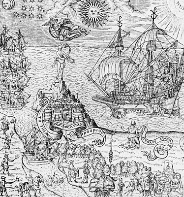 Sailboats Drawing - Queen Elizabeth I On Board A Ship by English School