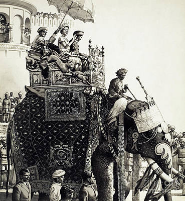 India Painting - Queen Elizabeth II On An Elephant by Pat Nicolle