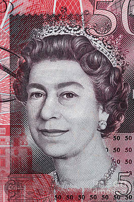 Economy Photograph - Queen Elizabeth II Portrait On 50 Pound Sterling Banknote by Michal Bednarek