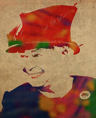 Queen Mixed Media - Queen Elizabeth Watercolor Portrait by Design Turnpike
