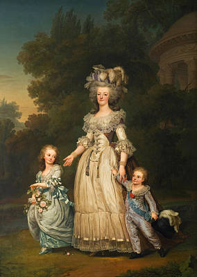 Queen Marie Antoinette Of France And Two Of Her Sons Walking In The Park Of Trianon Art Print by Mountain Dreams