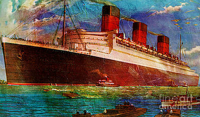 Queen Mary Mixed Media - Queen Mary 2 by Tammera Malicki-Wong