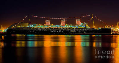 Queen Mary - Nightside Art Print by Jim Carrell