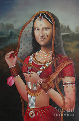 Queen Monalisa Indian Mona Lisa Handmade Painting Oil Color Canvas Artist India Art Print by A K Mundra