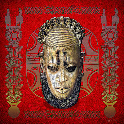 Digital Art - Queen Mother Idia - Ivory Hip Pendant Mask - Nigeria - Edo Peoples - Court Of Benin On Red Leather by Serge Averbukh