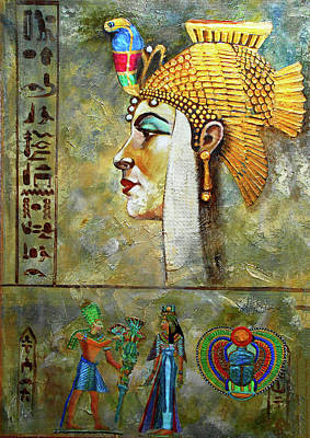Egyptian Mixed Media - Queen Neffertiti by Michael Durst