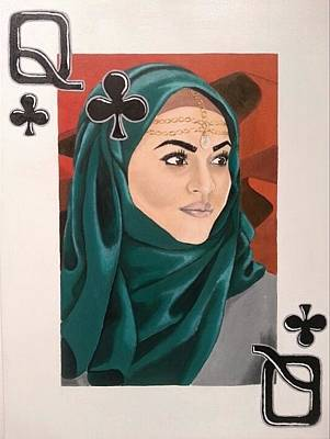 Of Hijabs Painting - Queen Of Clubs by Jeffery Miles