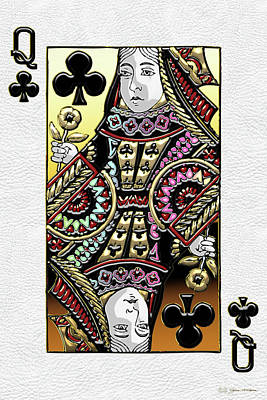 Digital Art - Queen Of Clubs Over White Leather  by Serge Averbukh