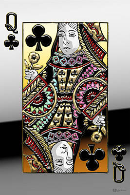 Digital Art - Queen Of Clubs   by Serge Averbukh