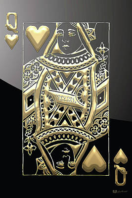 Digital Art - Queen Of Hearts In Gold On Black by Serge Averbukh