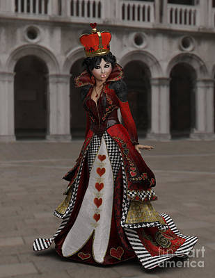 Digital Art - Queen Of Hearts Portrait by Methune Hively
