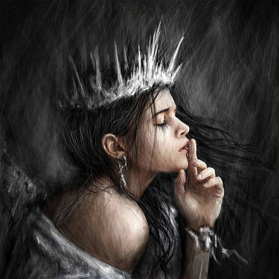 Queen Of Secrets Gothic Fantasy Portrait Painting Of A Fairy Queen Art Print by Justin Gedak