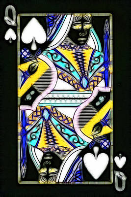 Wingsdomain Digital Art - Queen Of Spades - V2 by Wingsdomain Art and Photography