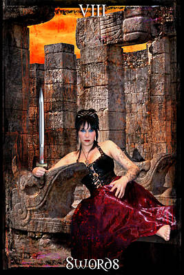 Digital Art - queen of Swords by Tammy Wetzel