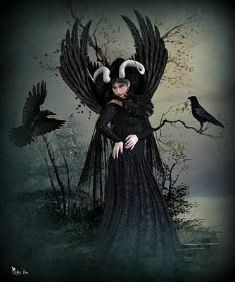 Digital Art - Queen Of The Crows by Ali Oppy