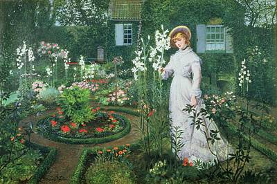 Quaint Painting - Queen Of The Lilies by John Atkinson Grimshaw