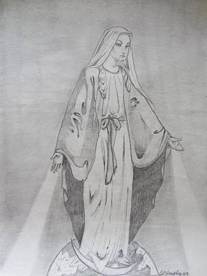 Mary Mother Of God Drawing - Queen Of The Universe  by Scott Murphy