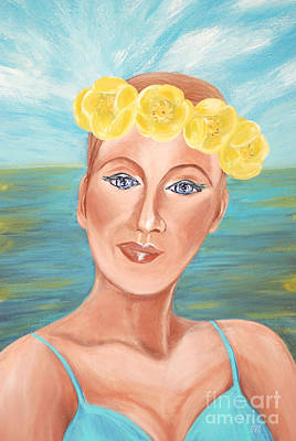 Painting - Queen Of The Water Lilies. Portrait. Acrylic Painting 2015 by Oksana Semenchenko