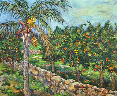 Queen Palm And Oranges Art Print by Lily Hymen