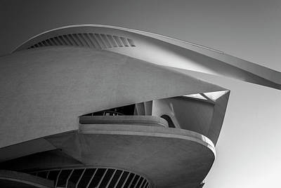 Photograph - Queen Sofia Palace Of The Arts Valencia Spain Bw by Joan Carroll