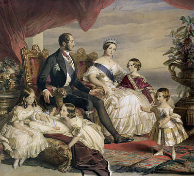 Royalty Painting - Queen Victoria And Prince Albert With Five Of The Their Children by Franz Xavier