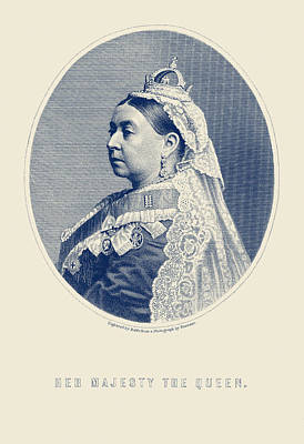 Mixed Media Royalty Free Images - Queen Victoria Engraving - Her Majesty The Queen Royalty-Free Image by War Is Hell Store