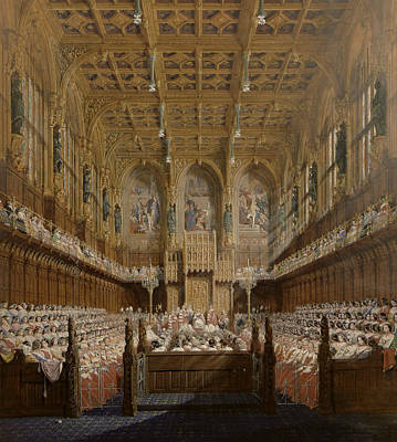 Senate Painting - Queen Victoria In The House Of Lords by Joseph Nash