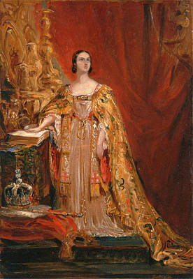 Taking Oath Painting - Queen Victoria Taking The Coronation Oath 28 June 1838 by George Hayter