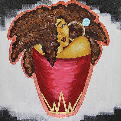Black Woman Painting - Queens Be Winning by Aliya Michelle