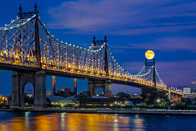 Photograph - Queensboro Ed Koch Bridge Full Moon by Susan Candelario