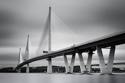 Photograph - Queensferry Crossing Bridge Mono 1 by Grant Glendinning