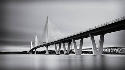 Photograph - Queensferry Crossing Bridge Mono by Grant Glendinning