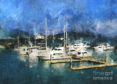 Digital Art - Queensland Marina by Claire Bull