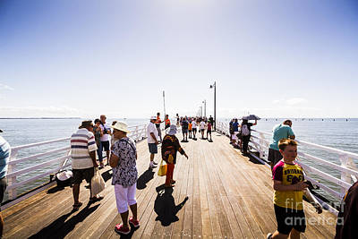 Reconstruction Photograph - Queenslanders Walking On The New Shorncliffe Pier by Jorgo Photography - Wall Art Gallery