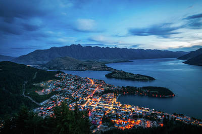 Photograph - Queenstown City Lights, New Zealand by Daniela Constantinescu