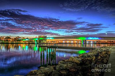 Photograph - Queensway Twin Bridges Lit At Night by David Zanzinger