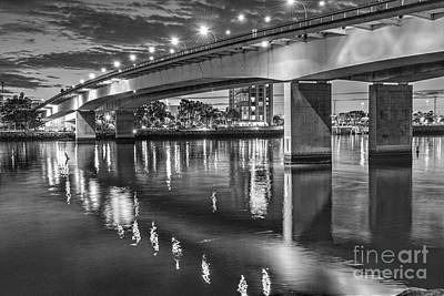 Photograph - Queensway Twin Bridges Lit B/w by David Zanzinger