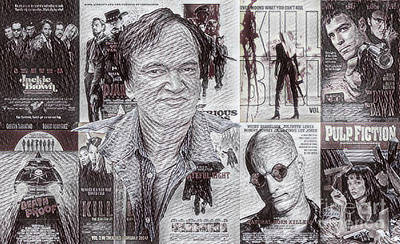 Grindhouse Drawing - Quentin Tarantino Poster Drawing by Pd