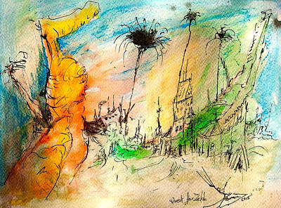 Abstract Realist Landscape Drawing - Quest For Zelda by Contemporary Art By PEARSE