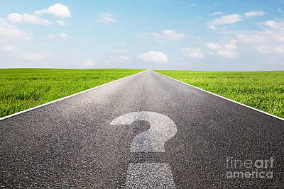 Perspective Photograph - Question Mark Symbol On Long Empty Straight Road by Michal Bednarek