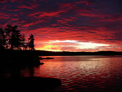 Sun Photograph - Quetico Sun Rise by Peter  McIntosh
