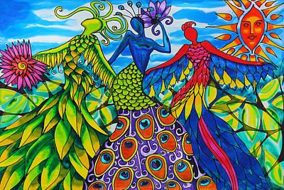 Quetzalcoatl, Peacock And Scarlet Macaw Women Of Belize Original