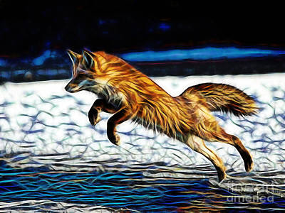 Red Fox Mixed Media - Quick by Marvin Blaine
